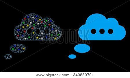 Glowing Mesh Opinion Cloud Icon With Glare Effect. Abstract Illuminated Model Of Opinion Cloud. Shin