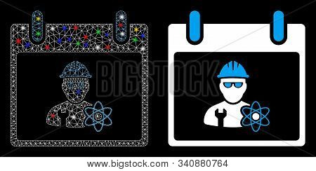 Glossy Mesh Atomic Engineer Calendar Day Icon With Glare Effect. Abstract Illuminated Model Of Atomi