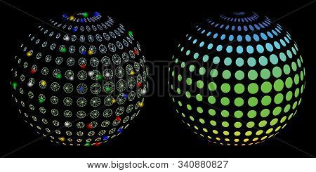 Glossy Mesh Dotted Halftone Sphere Icon With Lightspot Effect. Abstract Illuminated Model Of Dotted
