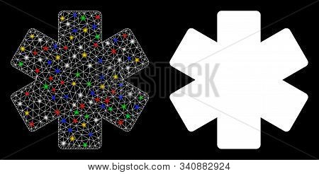 Flare Mesh Multiply Math Operation Icon With Sparkle Effect. Abstract Illuminated Model Of Multiply