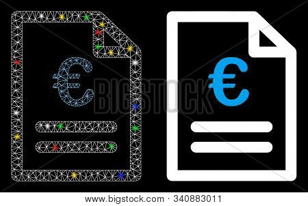Bright Mesh Euro Invoice Icon With Glow Effect. Abstract Illuminated Model Of Euro Invoice. Shiny Wi
