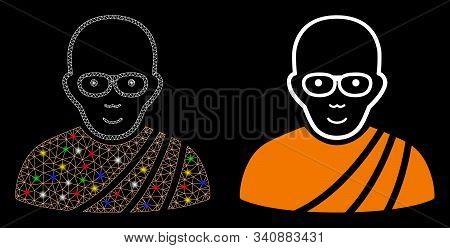 Flare Mesh Buddhist Monk Icon With Sparkle Effect. Abstract Illuminated Model Of Buddhist Monk. Shin