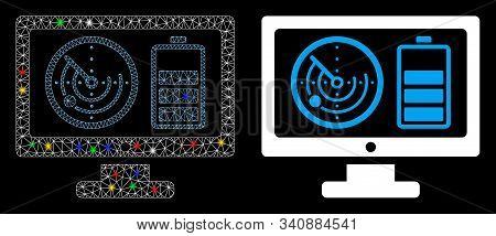 Flare Mesh Radar Battery Control Monitor Icon With Glow Effect. Abstract Illuminated Model Of Radar