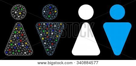 Bright Mesh Wc Persons Icon With Sparkle Effect. Abstract Illuminated Model Of Wc Persons. Shiny Wir