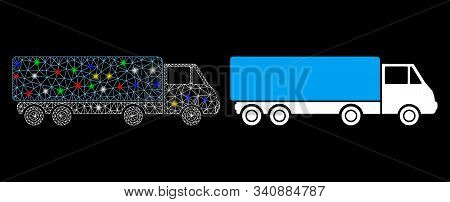 Glowing Mesh Cargo Wagon Icon With Glitter Effect. Abstract Illuminated Model Of Cargo Wagon. Shiny