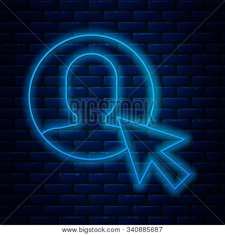 Glowing Neon Line User Of Man In Business Suit Icon Isolated On Brick Wall Background. Business Avat