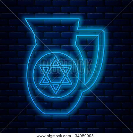 Glowing Neon Line Decanter With Star Of David Icon Isolated On Brick Wall Background. Pottery Jug. O