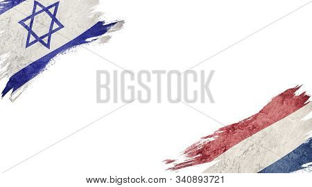 Flags Of Israel Andnederland On White Background