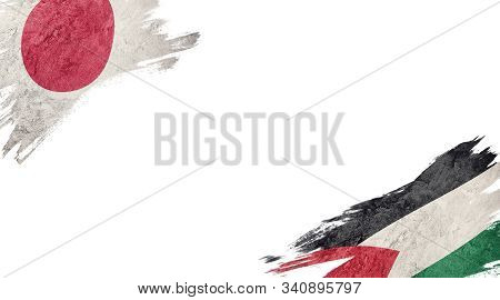 Flags Of Japan And palestine On White Background