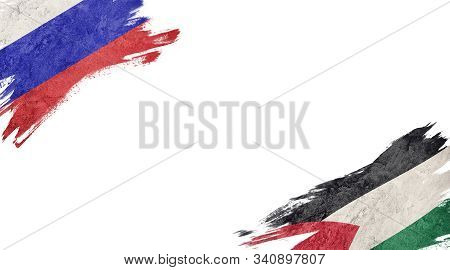 Flags Of Russia And palestine On White Background