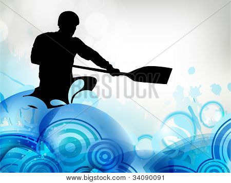 Stylized vector illustration silhouette of a canoe slalom player on a water wave effect background. EPS10.