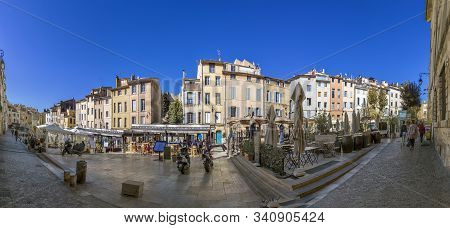 Aix En Provence, France - Oct 19, 2016: People Visit The Place Des Cadeurs With Its Famous Restauran