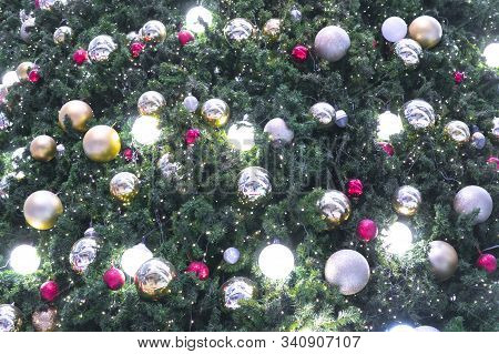 Chirstmas Ornaments Tree. Color Of Christmas Background.