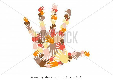 Group Of Colorful Hands Different Skin Color Tone Of Many People Arrange In Hands Shape, Teamwork, D