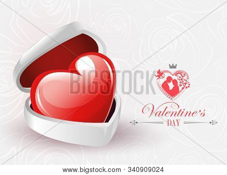 A Light Composition With A White Casket, A Red Heart And Silhouettes Of Lovers Man And Woman