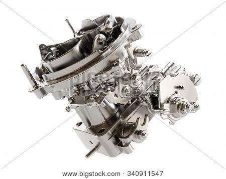 Model of passanger car carburetor on white background