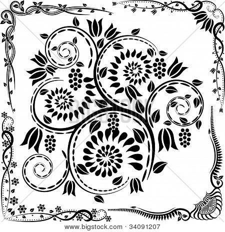 floral corners and ornaments - vector illustration poster
