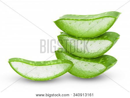 Aloe Vera Fresh Leaves With Slices On White Background. Full Depth Of Field