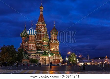 Moscow, Russia - October 06, 2015: Night View Of The Colorful Domes Of The Saint Basils Cathedral On