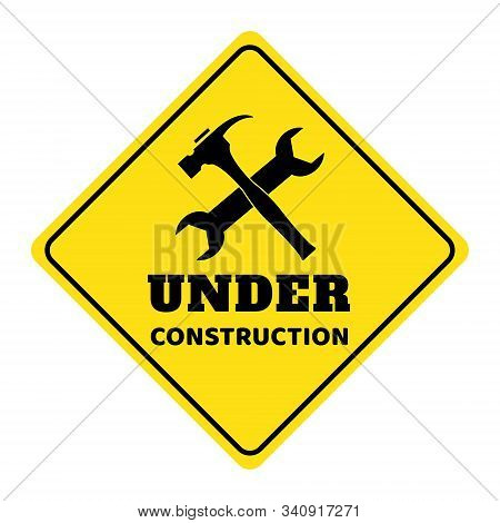 Under Construction Road Sign,under Construction Icon On Yellow Background Drawing By Illustration