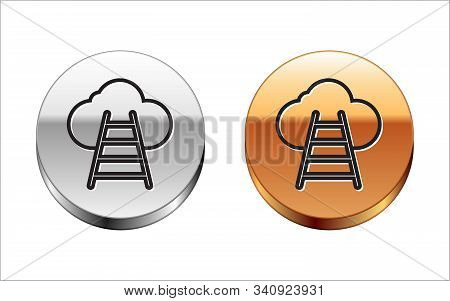 Black Line Ladder Leading To Cloud Icon Isolated On White Background. Stairs Leading To The Cloud. S