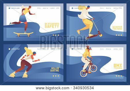 Vector Banners Collection About Street Sport Activities Like Skateboard, Scooter, Roller Skate And B