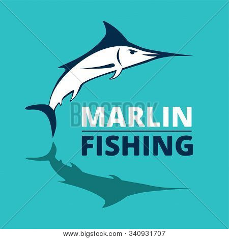Marlin Fish Logo. Swordfish Fishing Emblem. Angry Marlina. Design Elements For Fisherman Club Or Tou