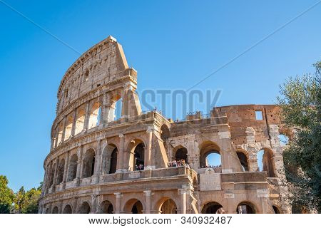Rome, Italy - 27.10.2019: View Of Rome Colosseum In Rome, Italy. The Colosseum Was Built In The Time
