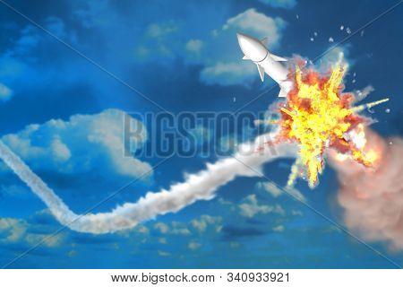 Ballistic Missile Interception On Blue Sky Background, Modern Antirocket Destroys Enemy Missile Conc