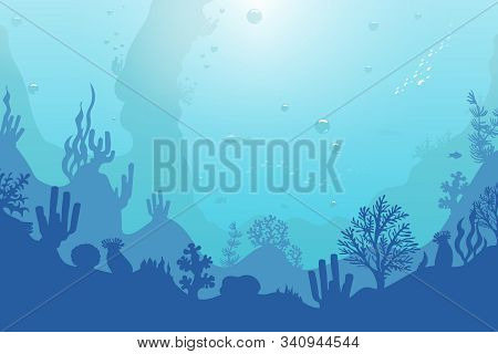 Ocean Underwater Background With Coral Reef, Plants, Fishes And Bubbles. Sea, Seascape, Undersea Vec