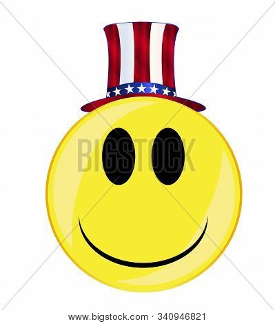 Uncle Sam In A Top Hat Smile Face Button Isolated On A White Background