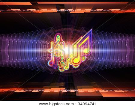 Backdrop composed of musical notes perspective fractal grids lights wave and sine patterns and suitable for use on music sound equipment and processing audio performance and entertainment poster