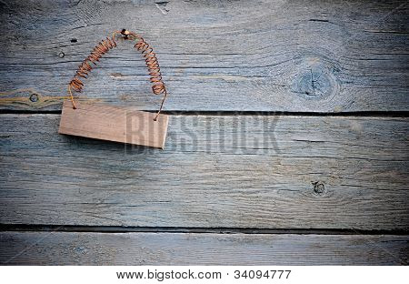 old sign on distressed wooden wall
