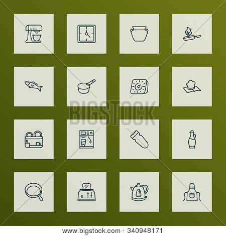 Gastronomy Icons Line Style Set With Recipe Book, Clay Pot, Dish Dryer And Other Pot Elements. Isola