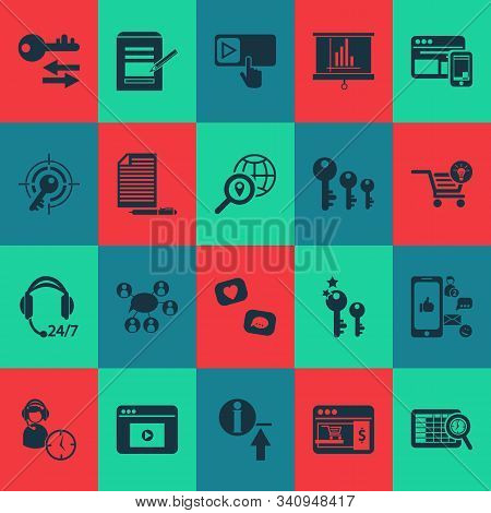Business Icons Set With Sort Keywords, Ecommerce Solution, Subscribe And Other Communication Element