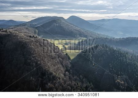 Strazov Mountains From Vapec Hill, Slovak Republic. Seasonal Natural Scene.
