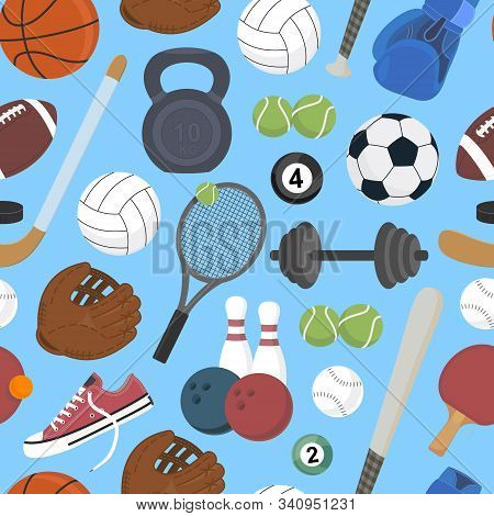 Sport. Sports Equipment. Healthy Lifestyle. Pattern. Vector Illustration