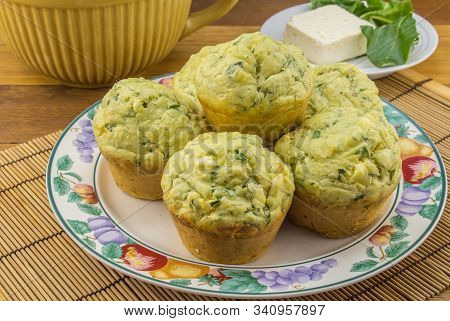 Feta And Spinach Muffins In A Plate - Savoury Muffin Background