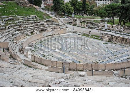 Theatre Of Dionysus In Athens Greece. Historical Archeological Attractions Landscape View