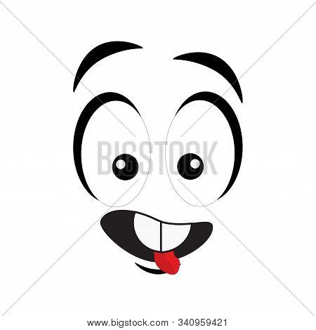 Cartoon Face With A Smiling Expression. Cartoon Emoji Character. Funny Emoticon Face Icon. Vector Il