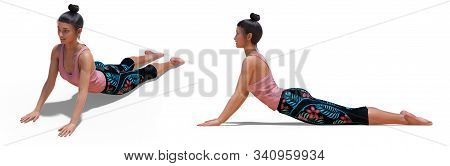 3d Illustration Of Front Three-quarters And Left Profile Poses Of A Woman In Yoga Cobra Pose With A