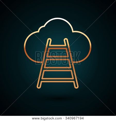 Gold Line Ladder Leading To Cloud Icon Isolated On Dark Blue Background. Stairs Leading To The Cloud