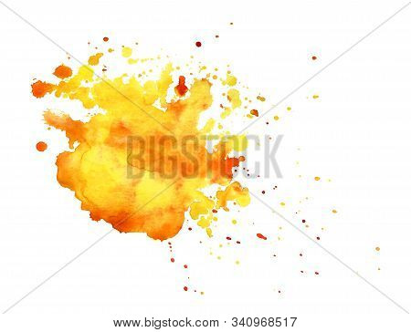 Abstract Watercolor Background. Shapeless Cloud. Lot Of Warm Yellow And Orange Shades Gradient From