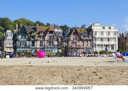 Trouville, France - August 15, 2019: The Beach At Trouville-sur-mer, Calvados Department; Normandy,