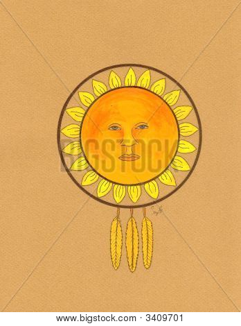 Sunflower Medicine Wheel Drawing