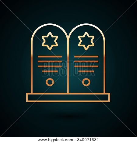 Gold Line Tombstone With Star Of David Icon Isolated On Dark Blue Background. Jewish Grave Stone. Gr