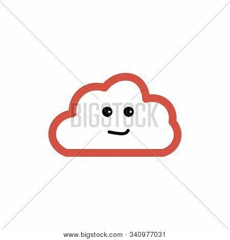 Smirking Cute Pink Cloud Character Cartoon. White Background