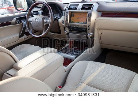 Novosibirsk, Russia - 12.20.2019: View To The Beige Interior Of Lexus Gx460 With Dashboard, Steering