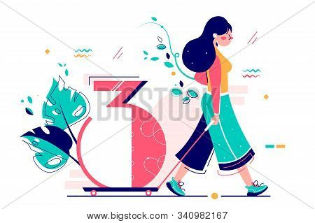 Woman Riding Number Three On Wheels Vector Illustration. Girl Walking Away With Cipher Tree Flat Sty