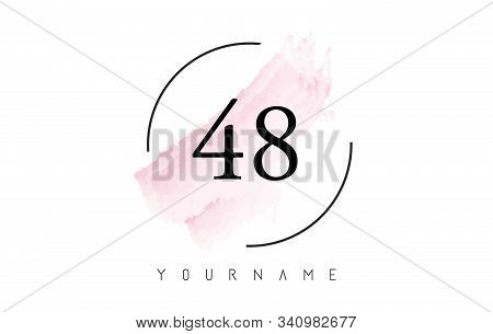 Number 48 Watercolor Stroke Logo With Circular Shape And Pastel Pink Brush Vector Design